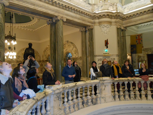 Erasmus students studying at St Mary's enjoy a visit to Belfast City Hall