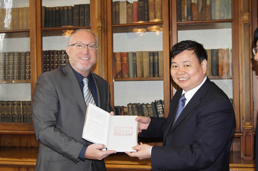 Professor Peter Finn, Principal of  St Mary's University with Professor Xiang Xianzhi , President of Hubei Normal University China
