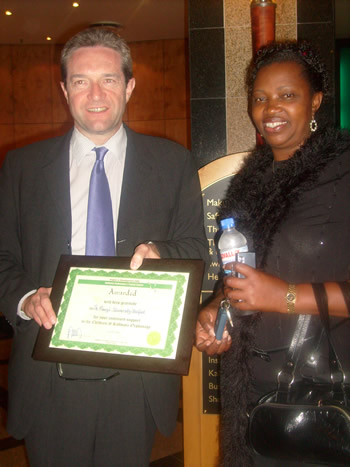 International Award presented to Dr. Gerard McCann by Mrs Angela Miyanda (Director of Angels in Development and former Deputy First Lady of Zambia)