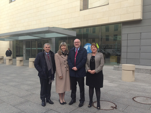 Professor Peter Finn at OECD headquarters with the Presidents of Marino Institute of Education and Mary Immaculate College, as well as the Head of the School of Primary Education at the National University of Ireland, Maynooth