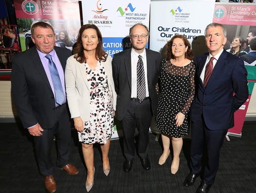 Dr Gabrielle NigUidhir, Senior Tutor for Development (second on the left), pictured with Gerry McConville, Chair of the West Belfast Partnership Board; Peter Weir MLA, Minister for Education; Geraldine McAteer, CEO West Belfast Partnership Board and Máirtín Ó Muilleoir MLA, Minister for Finance