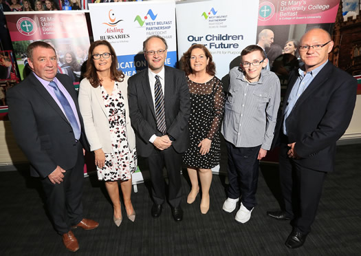 Dr Gabrielle NigUidhir, Senior Tutor for Development (second on the left), pictured with Gerry McConville, Chair of the West Belfast Partnership Board; Peter Weir MLA, Minister for Education; Geraldine McAteer, CEO West Belfast Partnership Board, David Fitsimmons (Ace Taxi Aisling Bursary) and Paul Maskey MP
