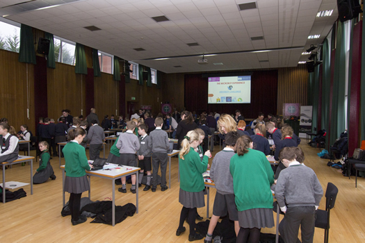 Pupils and their teachers from Bunscoil Bheann Mhadagain, Hazelwood Primary, Holy Rosary Primary, Seaview Primary and Sullivan Upper Prep enjoying the mini-university microbot experience