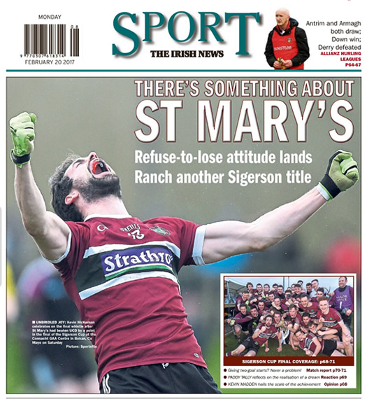 Irish News sports page Monday 20 February