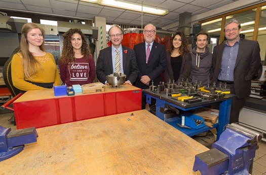 The Minister  pictured with some international students from Slovakia, Italy and Austria as well as the College Principal, Professor Peter Finn and Dr Gerard McCann