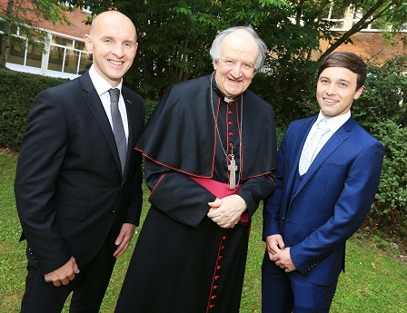 Commencement speaker Paddy Tally with Bishop Farquhar and Cory Quinn