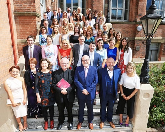 The class of 2017 with Bishop Donal McKeown, Professor Peter Finn (Principal) and College lecturers
