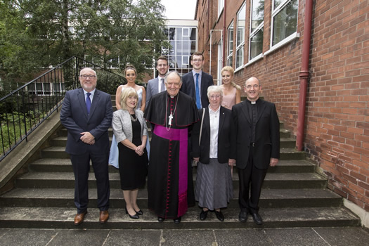 Bishop Anthony Farquhar, pictured with Commencement Speaker, Mrs Carol McCann (Principal of St Dominic's Grammar School for Girls), Sr Lucina Montague (governing body member), as well as the College Principal, Professor Peter Finn and the Director of the Liberal Arts Programme, Rev Fr Feidhlimidh Magennis