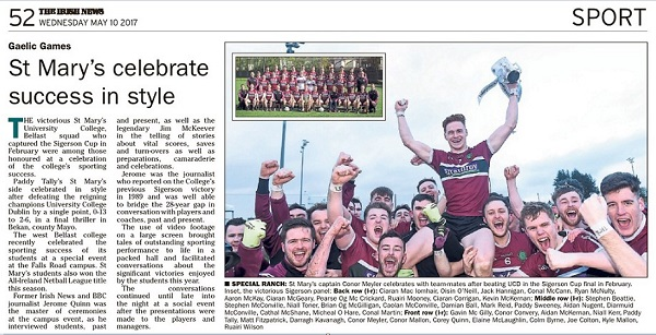 Irish News Story - St Mary's celebrate success in style