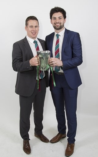 Gavin McGilly, a member of the Sigerson Management Team with Ciaran Mac Iomhair from Portadown