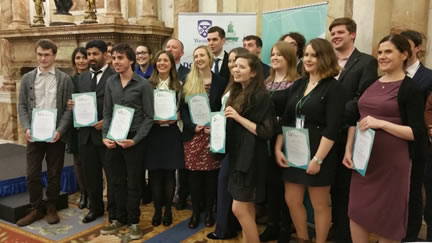 Breda O'Kane pictured alongside other Undergraduate Award winners at the reception in the Department of Foreign Affairs and Trade in Dublin