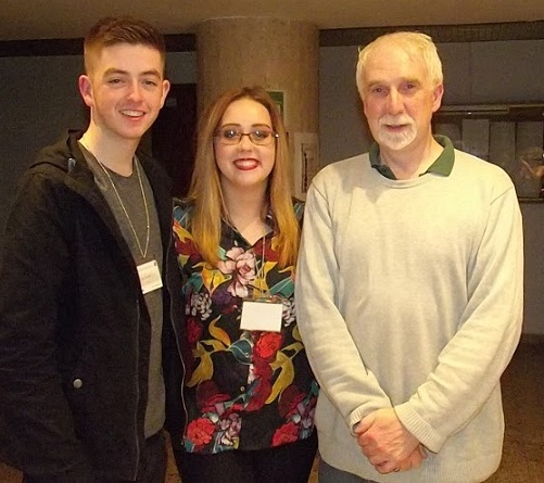 Paul Devlin and Natalie Kavanagh with Peter Stevenson, Senior Lecturer in Business Studies