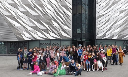 Pupils who were at the Summer Transition School enjoying their trip to Titanic Belfast