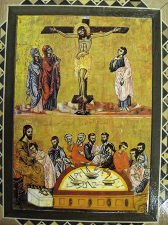 Anonymous Seventeenth-Century Icon of the Crucifixion and Last Supper