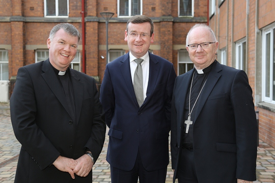 Pictured (L-R): Fr Niall Coll, Dr Francis Campbell, Dr Richard Clarke
