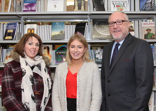 Ciara Quinn (Belfast Media Group), Nikki McKeown (LA 2 History student) and Professor Peter Finn (College Principal)