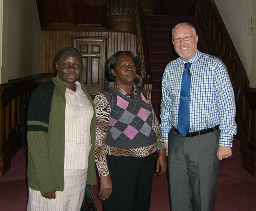 Visitors from Kyambogo University, Uganda - Ms Edith Mbabazi and Ms Sarah Kisa, with Principal Professor Peter Finn
