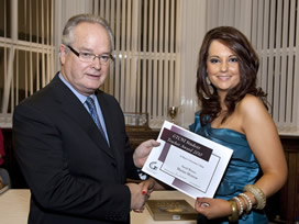 Eddie McArdle of GTCNI presenting award to Marian Morrow (Teacher Education - Geography)