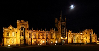 Photograph of QUB at night